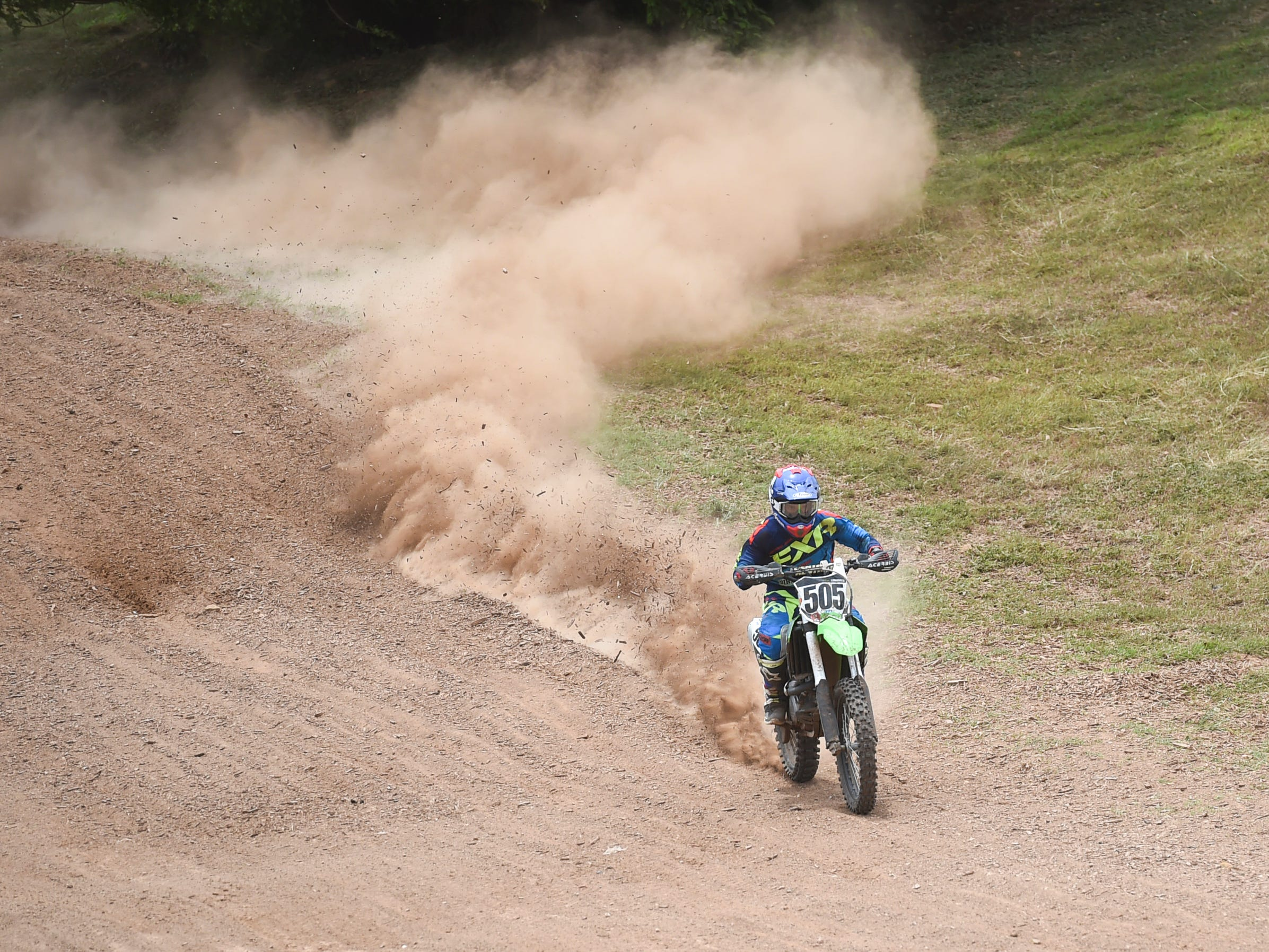 Motocross competitor Sean Lipanovich creates a dust trail during the 39th Annual APL Smokin' Wheels at the Guam International Raceway in Yigo, April 14, 2019.