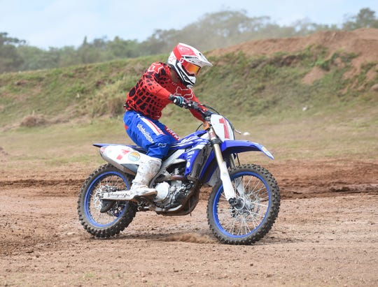 JR Cepeda rides through a big bikes enduro race during the 39th Annual APL Smokin' Wheels at the Guam International Raceway in Yigo, April 14, 2019.