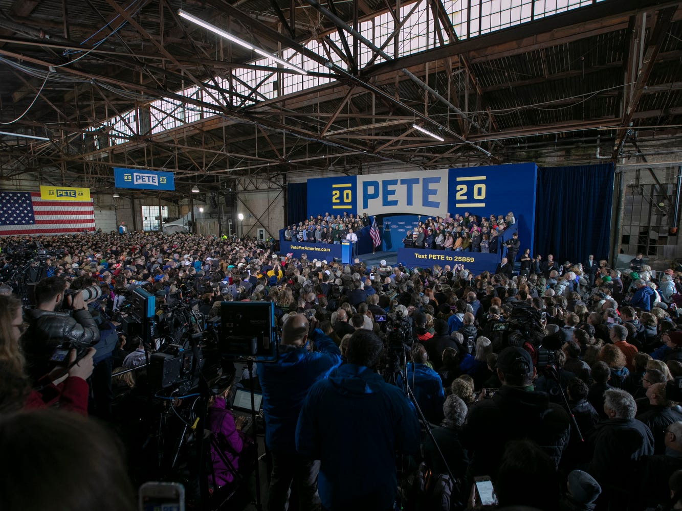 A rally for Pete Buttigieg, the mayor of South Bend, who announced on Sunday, April 14, 2019, that he is running for U.S. president.