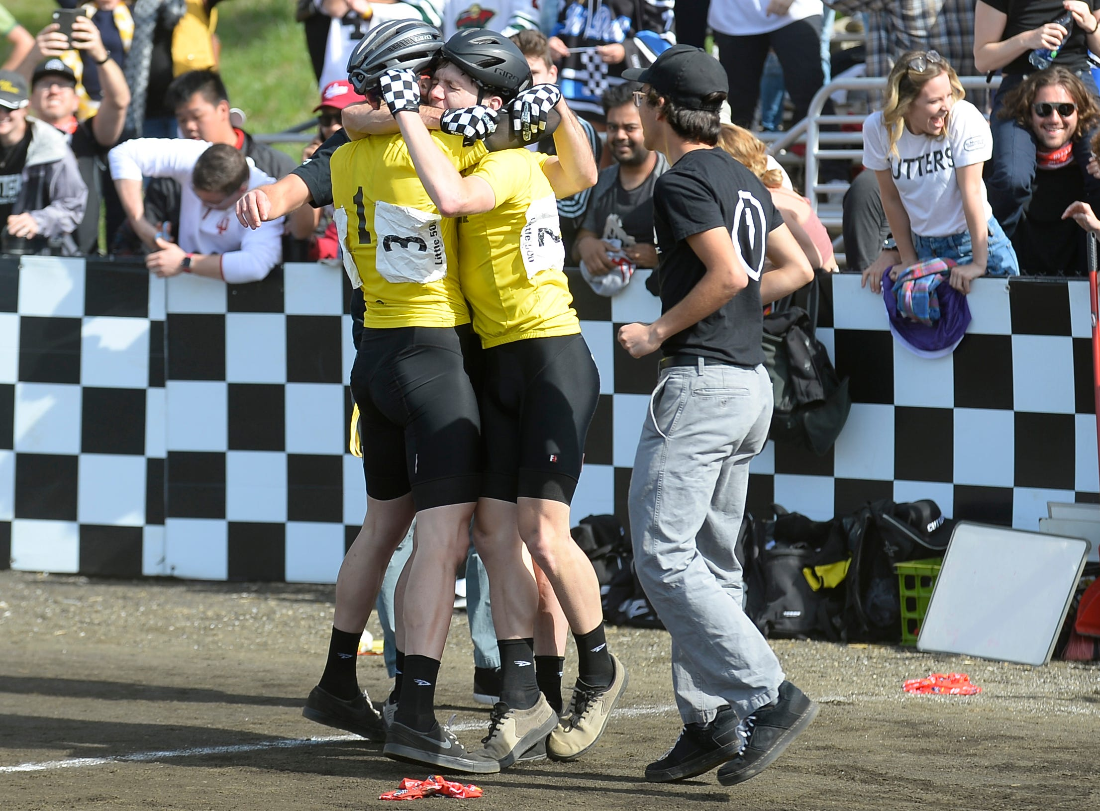 Cutters celebrates after winning the men's Little 500 at Bill Armstrong Stadium in Bloomington, Ind., on Saturday, April 13, 2019.
