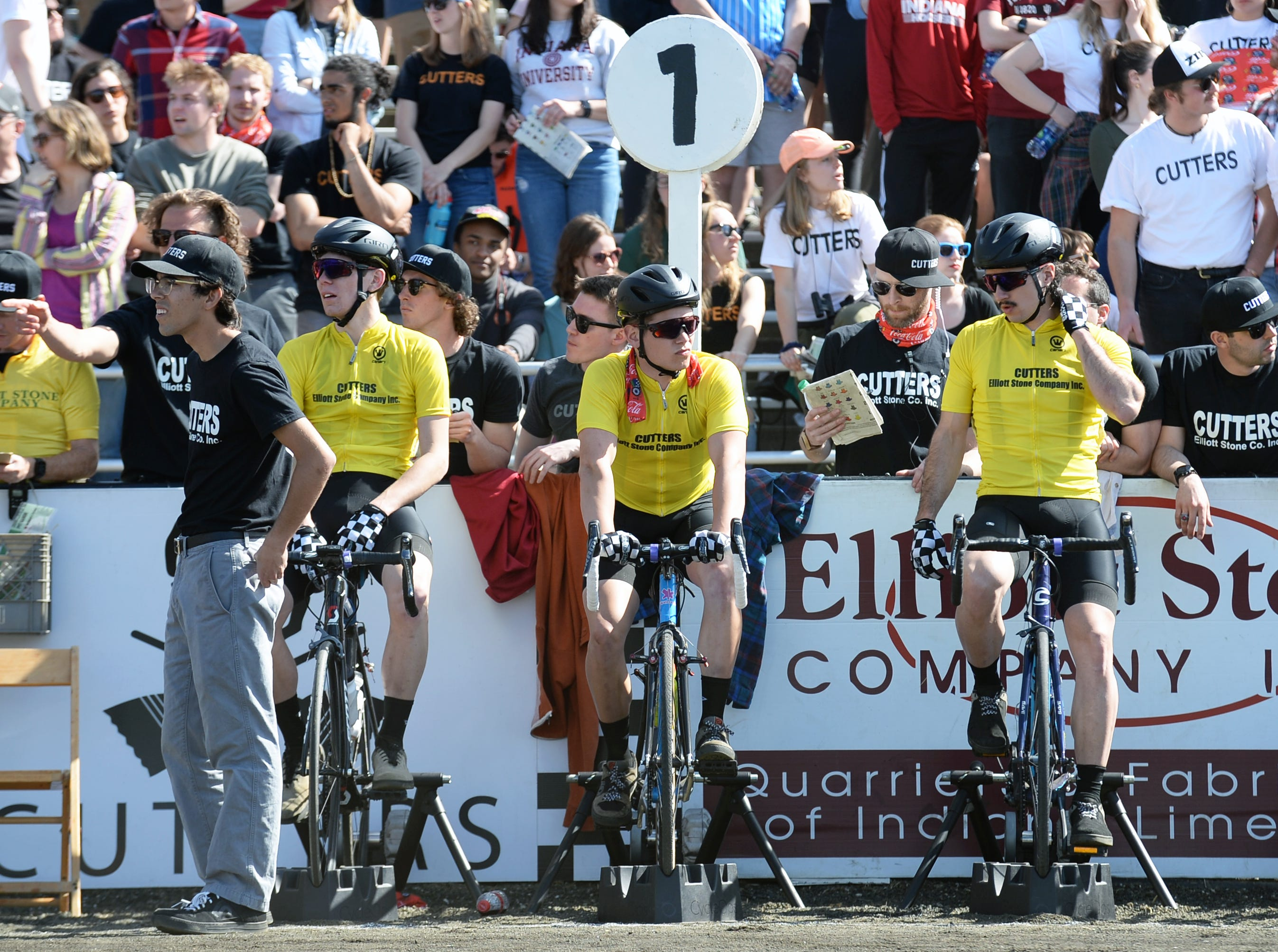 The Cutters look on during the men's Little 500 at Bill Armstrong Stadium in Bloomington, Ind., on Saturday, April 13, 2019.