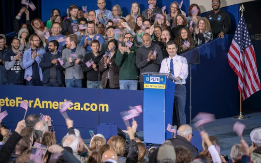 A rally for Pete Buttigieg, who announced in South Bend on Sunday, April 14, 2019, that he is running for U.S. president.