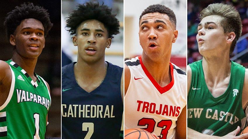 2019 IndyStar Mr. Basketball finalists, left to right: Brandon Newman, Armaan Franklin, Trayce Jackson-Davis and Luke Bumbalough.