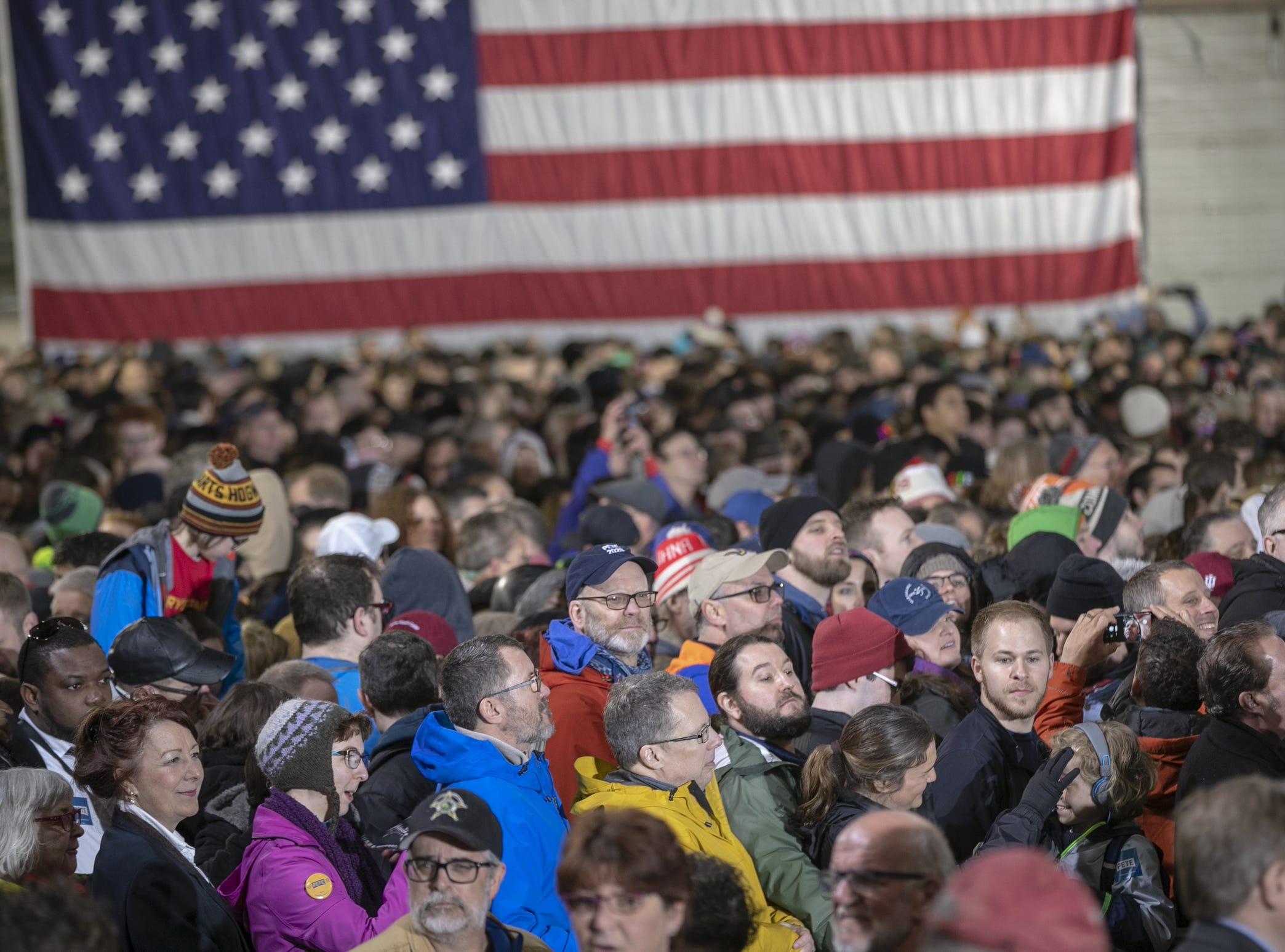 Several thousand people attend a rally for Pete Buttigieg, Mayor of South Bend, who is expected to announce that he is running for U.S. President, South Bend, Sunday, April 14, 2019.