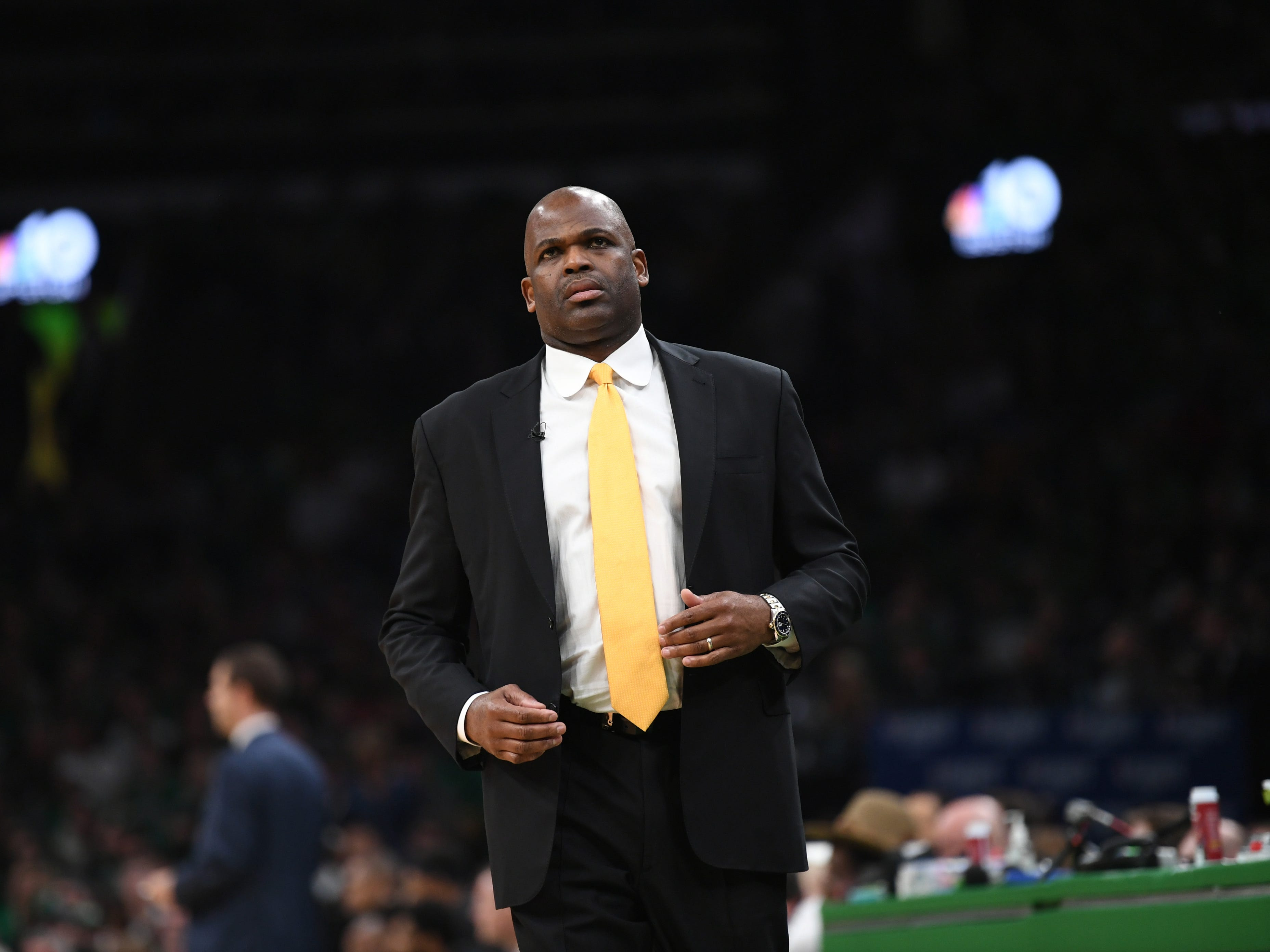 Apr 14, 2019; Boston, MA, USA; Indiana Pacers head coach Nate McMillan during the second half in game one of the first round of the 2019 NBA Playoffs against the Boston Celtics at TD Garden.