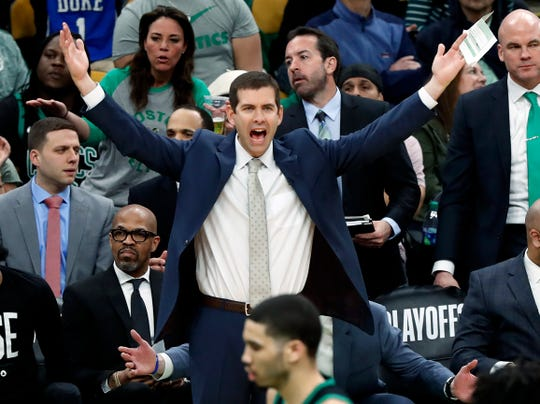 Boston Celtics head coach Brad Stevens reacts during the third quarter in Game 1 of a first-round NBA basketball playoff series against the Indiana Pacers, Sunday, April 14, 2019, in Boston. (AP Photo/Winslow Townson)