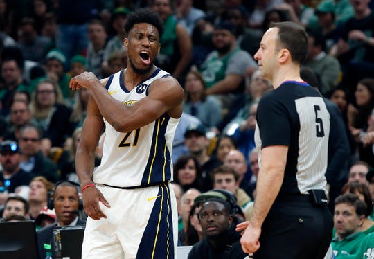 Indiana Pacers' Thaddeus Young reacts to a foul called against him by referee Kane Fitzgerald (5) during the second quarter in Game 1 of a first-round NBA basketball playoff series against the Boston Celtics, Sunday, April 14, 2019, in Boston. (AP Photo/Winslow Townson)