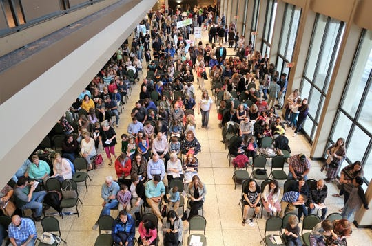 A crowd of students, family and community members gathers to recognize student artwork at the 2019 Color of Music awards at the Carl Perkins Civic Center in Jackson on Saturday, April 13.