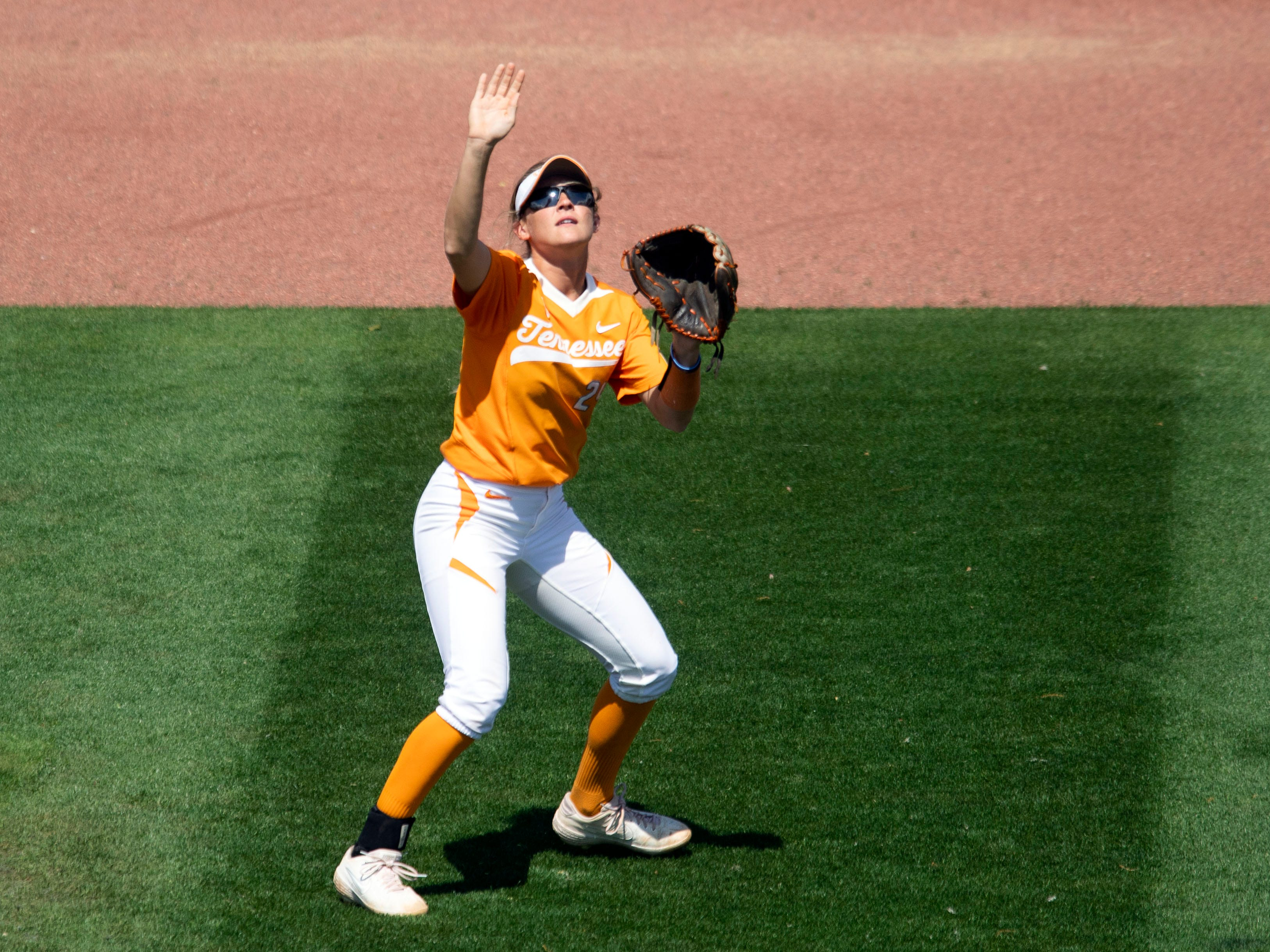 Tennessee's Cailin Hannon (24) calls for the fly ball in the game against Mississippi State at Sherri Parker Lee Stadium on Sunday, April 14, 2019.