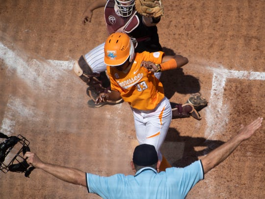Tennessee's Treasuary Poindexter (33) is called safe at home in the game against Mississippi State at Sherri Parker Lee Stadium on Sunday, April 14, 2019.