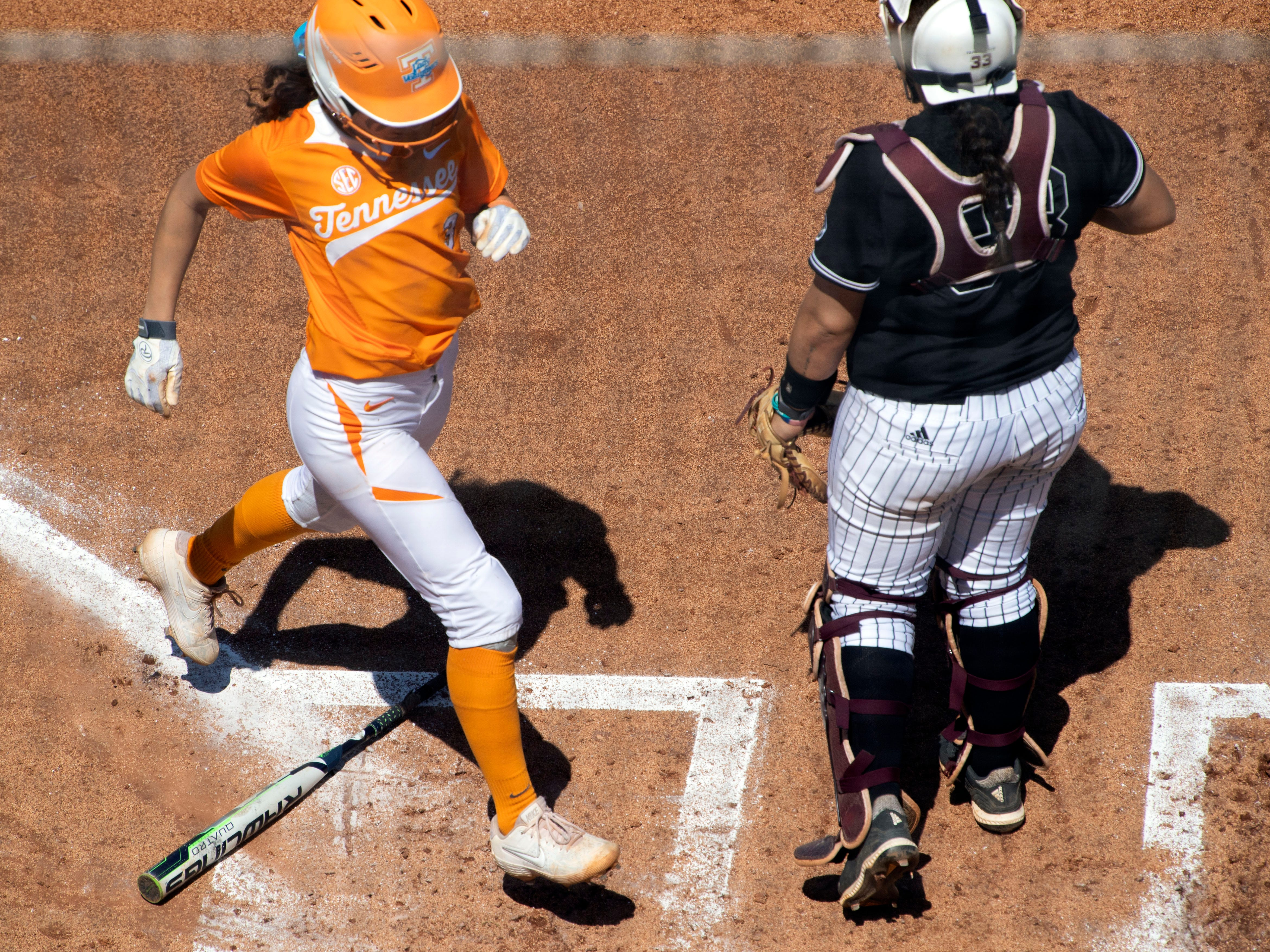 Tennessee's Kaitlin Parsons (3) scores a run on against  Mississippi State at Sherri Parker Lee Stadium on Sunday, April 14, 2019.