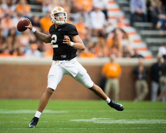 Tennessee quarterback Jarrett Guarantano (2) throws a pass during the Vols spring game in Neyland Stadium in Knoxville Saturday, April 13, 2019.