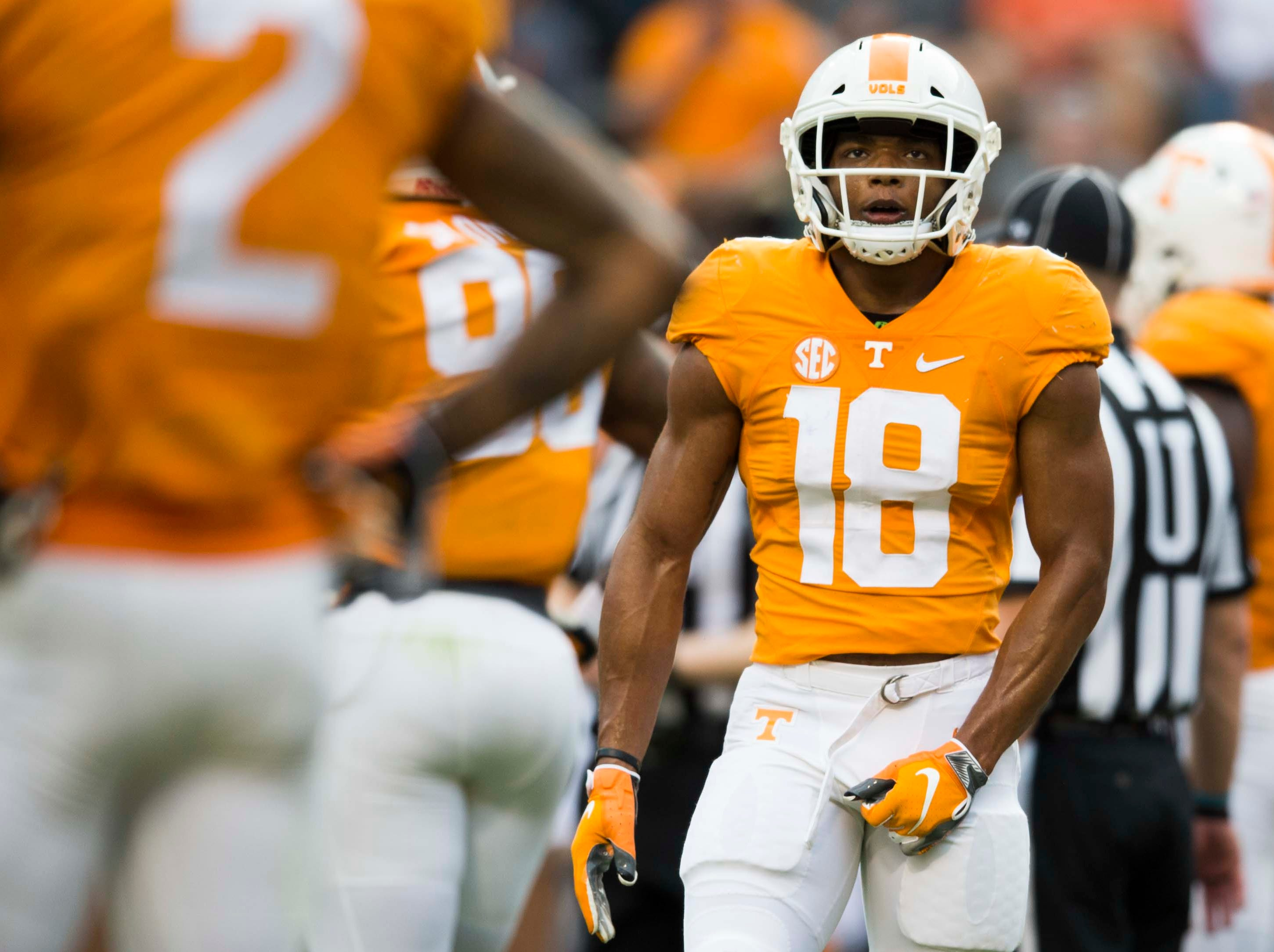 Tennessee defensive back Nigel Warrior (18)  stands on the field during the Vols spring game in Neyland Stadium in Knoxville Saturday, April 13, 2019.
