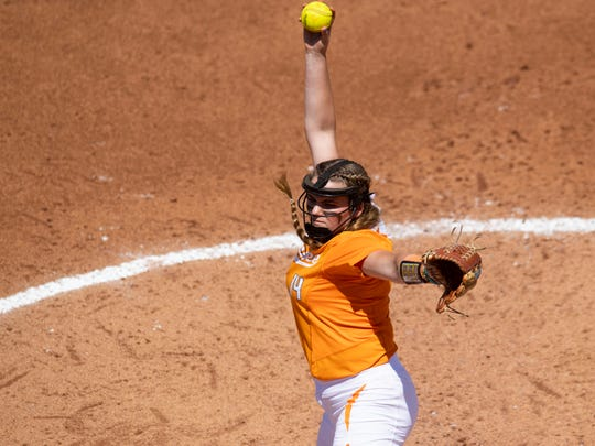 Tennessee's Ashley Rogers (14) pitches against Mississippi State at Sherri Parker Lee Stadium on Sunday, April 14, 2019.