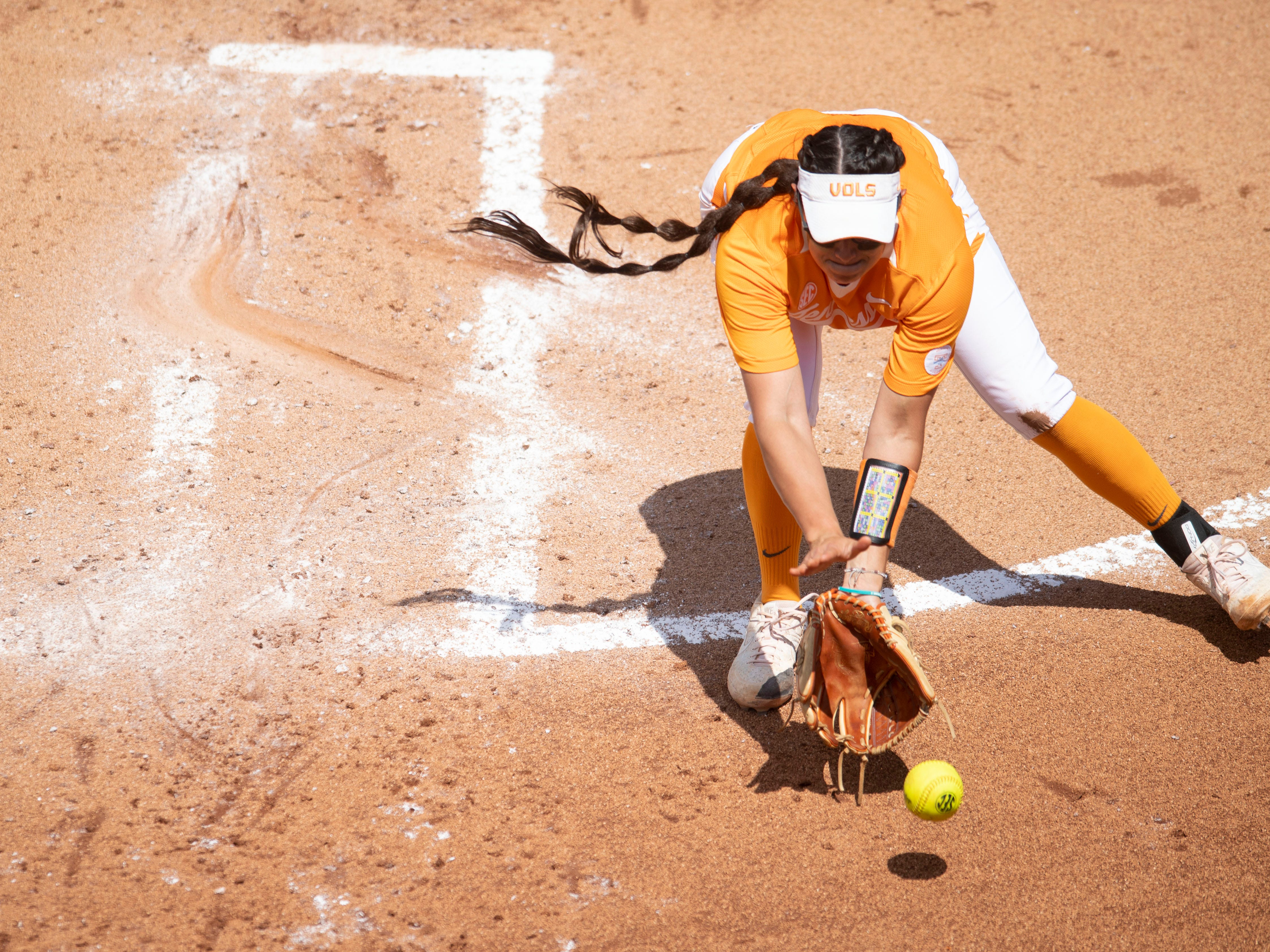 Tennessee's Matty Moss (1) gets in front of a ground ball in the game against Mississippi State at Sherri Parker Lee Stadium on Sunday, April 14, 2019.