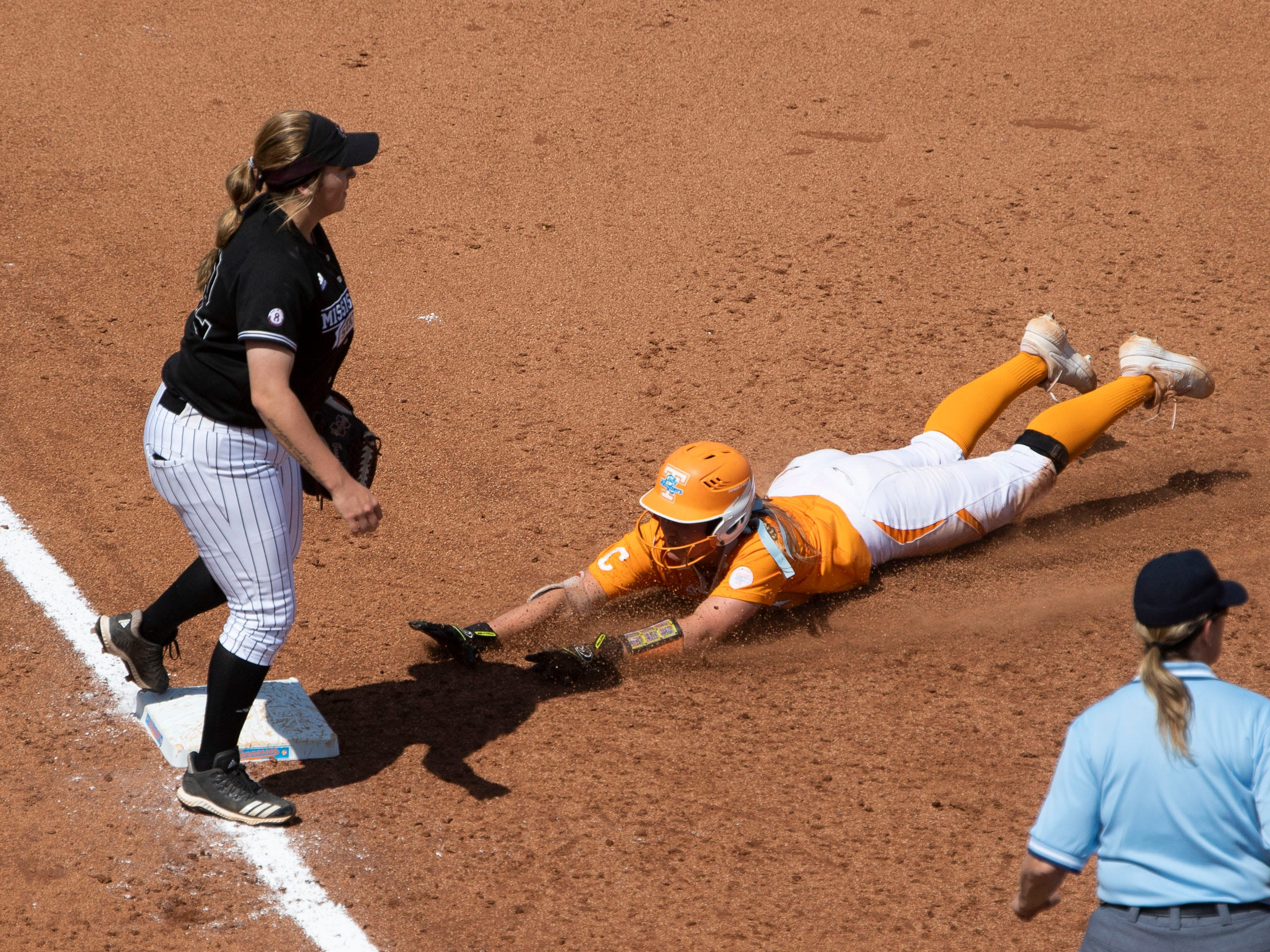 Tennessee's Chelsea Seggern (17) slides safely to thirf in the game against Mississippi State at Sherri Parker Lee Stadium on Sunday, April 14, 2019.