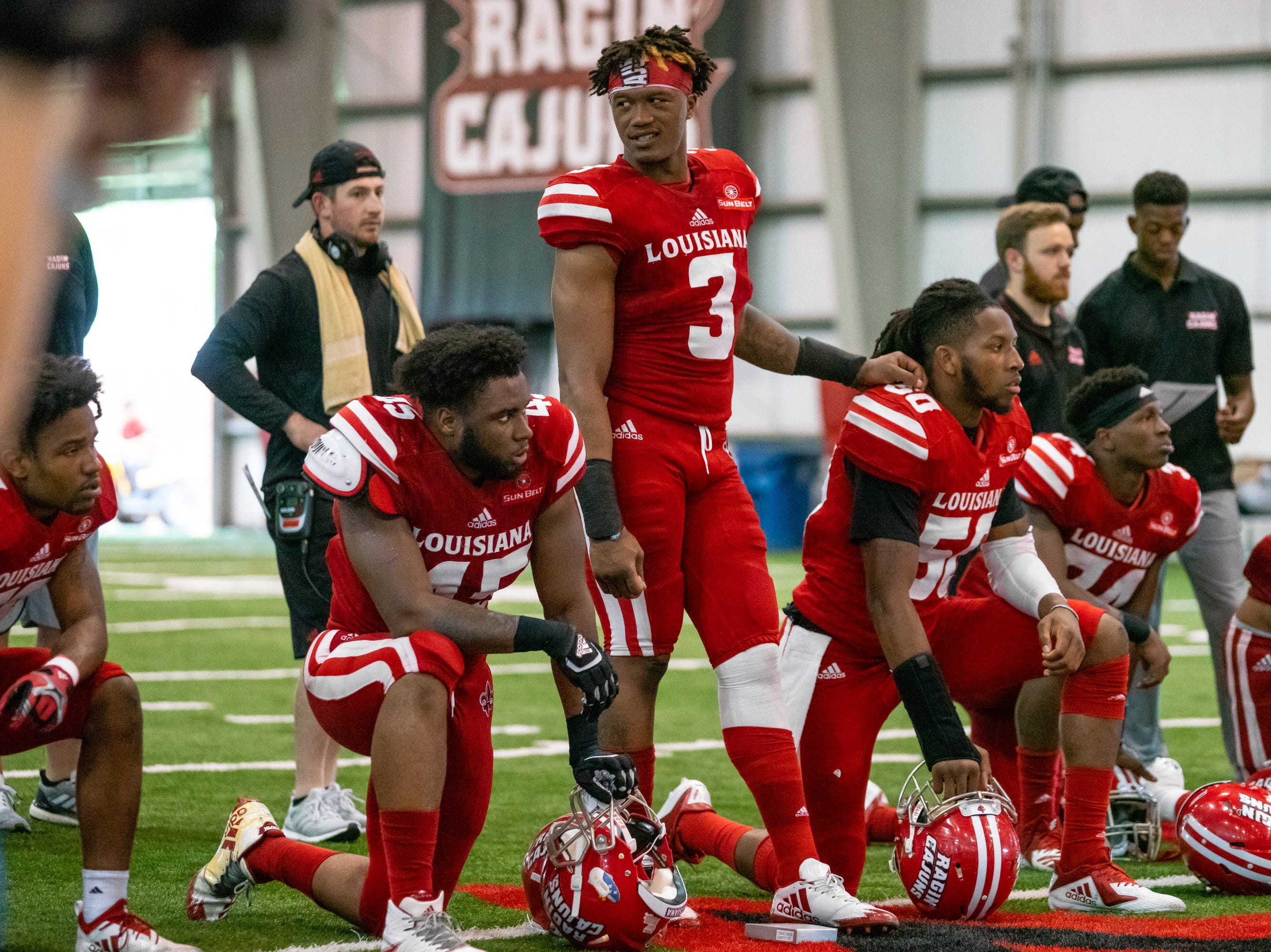 UL's Joe Dillon during halftime as the Ragin' Cajuns football team plays their annual Spring football game against one another in the Leon Moncla trainig facility on April 13, 2019.