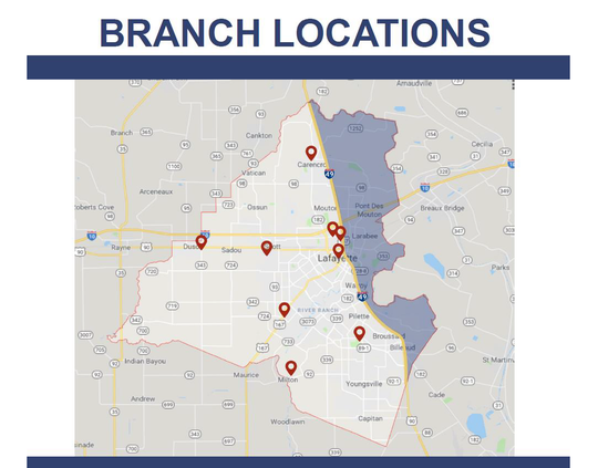 A map highlighting Lafayette Parish's lack of library locations on the east side of Interstate 49, an area of more than 35,000 people.