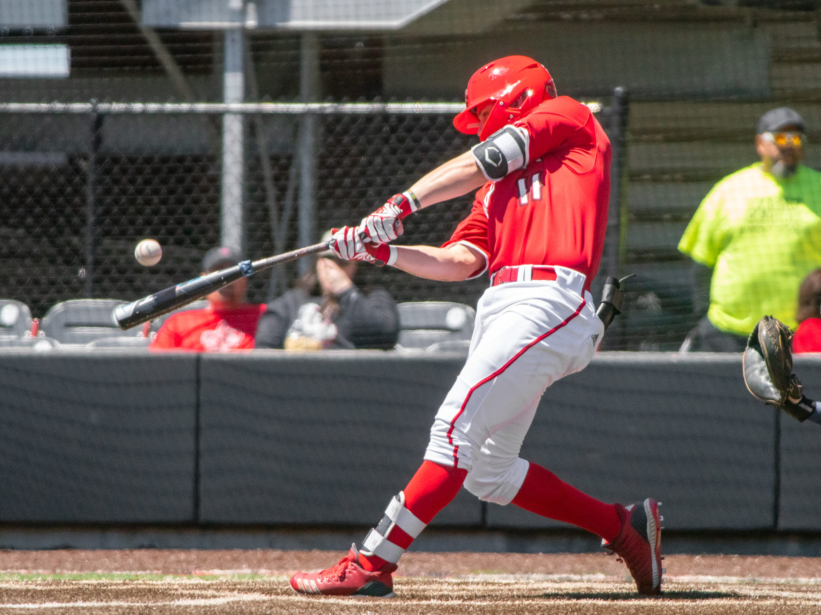 """UL's Kole McKinnon makes contact with the pitch as the Ragin' Cajuns take on the South Alabama Jaguars at M.L. """"Tigue"""" Moore Field on Sunday, April 14, 2019."""