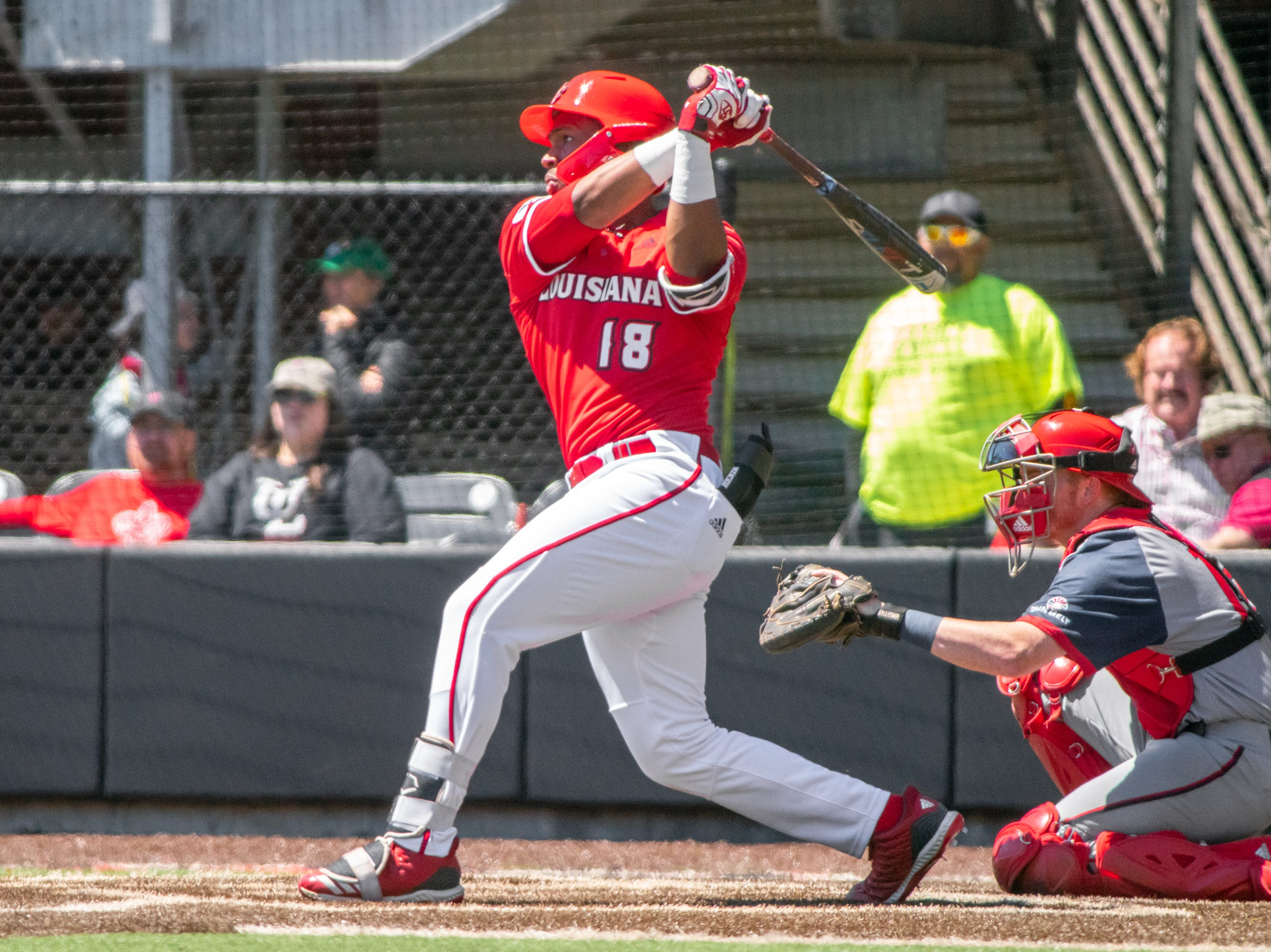 """UL's Tremaine Spears after the swing as the Ragin' Cajuns take on the South Alabama Jaguars at M.L. """"Tigue"""" Moore Field on Sunday, April 14, 2019."""
