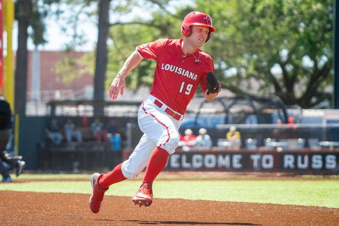 UL senior Hunter Kasuls had three hits against Southern Miss Tuesday, making it his fifth three-hit game of the season.