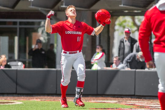 UL's Kole McKinnon celebrates his solo home run in Sunday's 4-1 win over South Alabama at The Tigue.