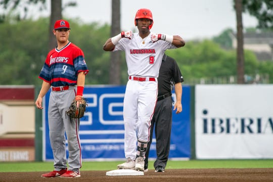 UL's Todd Lott celebrates a double against South Alabama earlier this month.