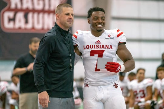UL's Ferrod Gardner stands with head coach Billy Napier during halftime as the Ragin' Cajuns football team plays its annual spring football game April 13. Gardner, who has moved around in the last season as outside and inside linebacker, has finally found a home on the inside.