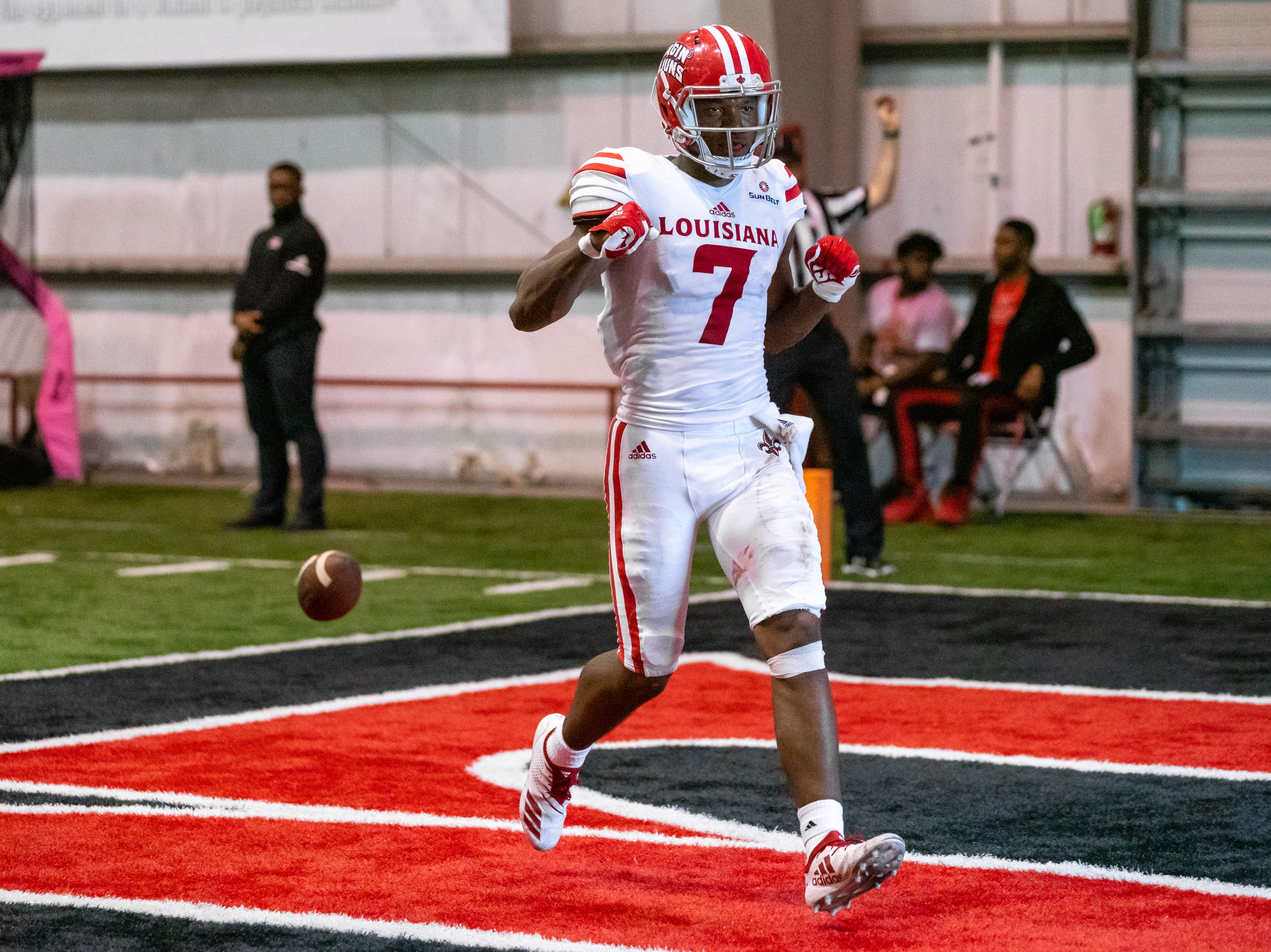 UL's Brian Smith celebrates his score in the endzone as the Ragin' Cajuns football team plays their annual Spring football game against one another in the Leon Moncla trainig facility on April 13, 2019.