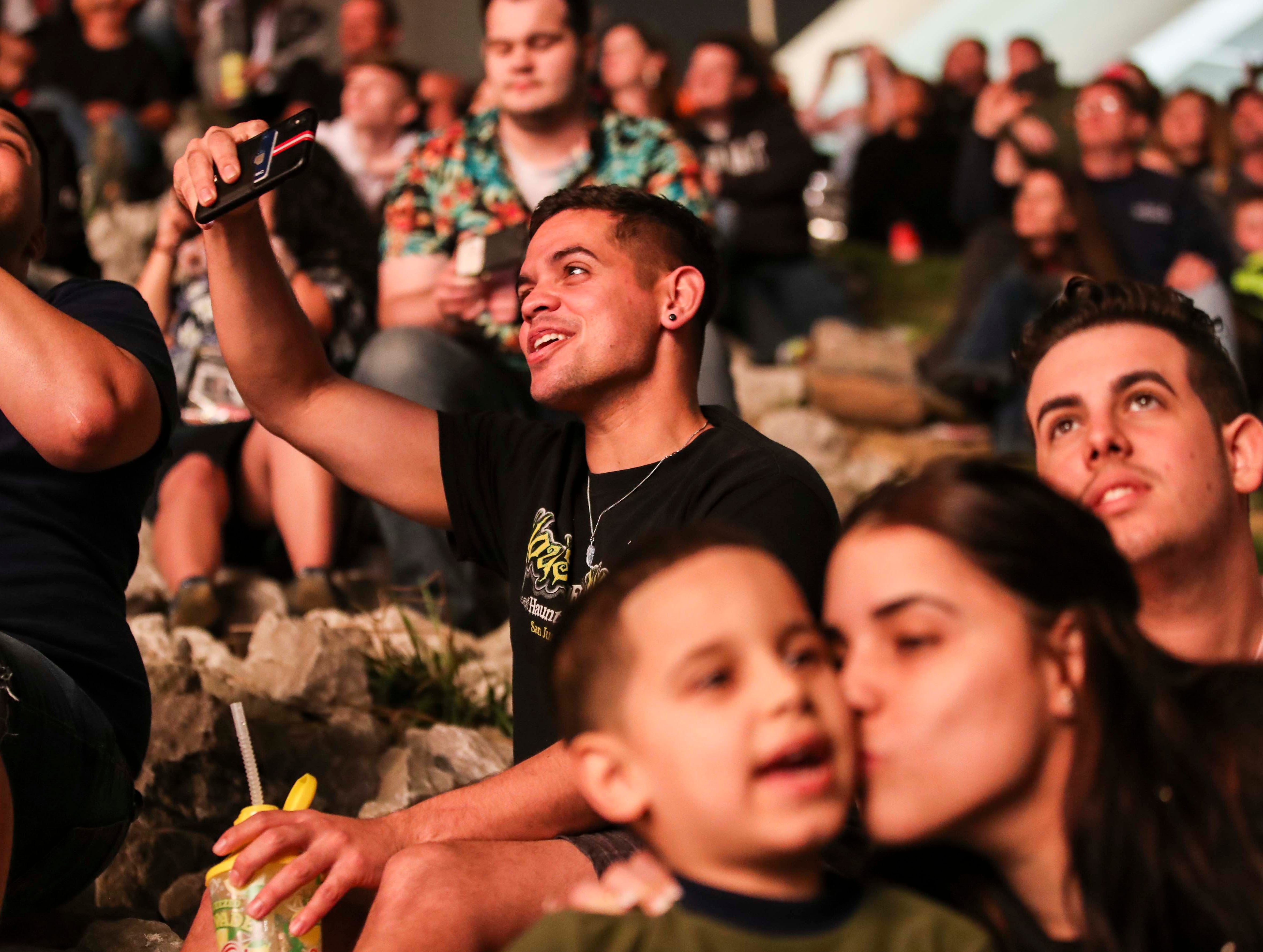 People crowded under Interstate 65 in Jeffersonville to watch the fireworks during 2019 Thunder Over Louisville.  April 13, 2019