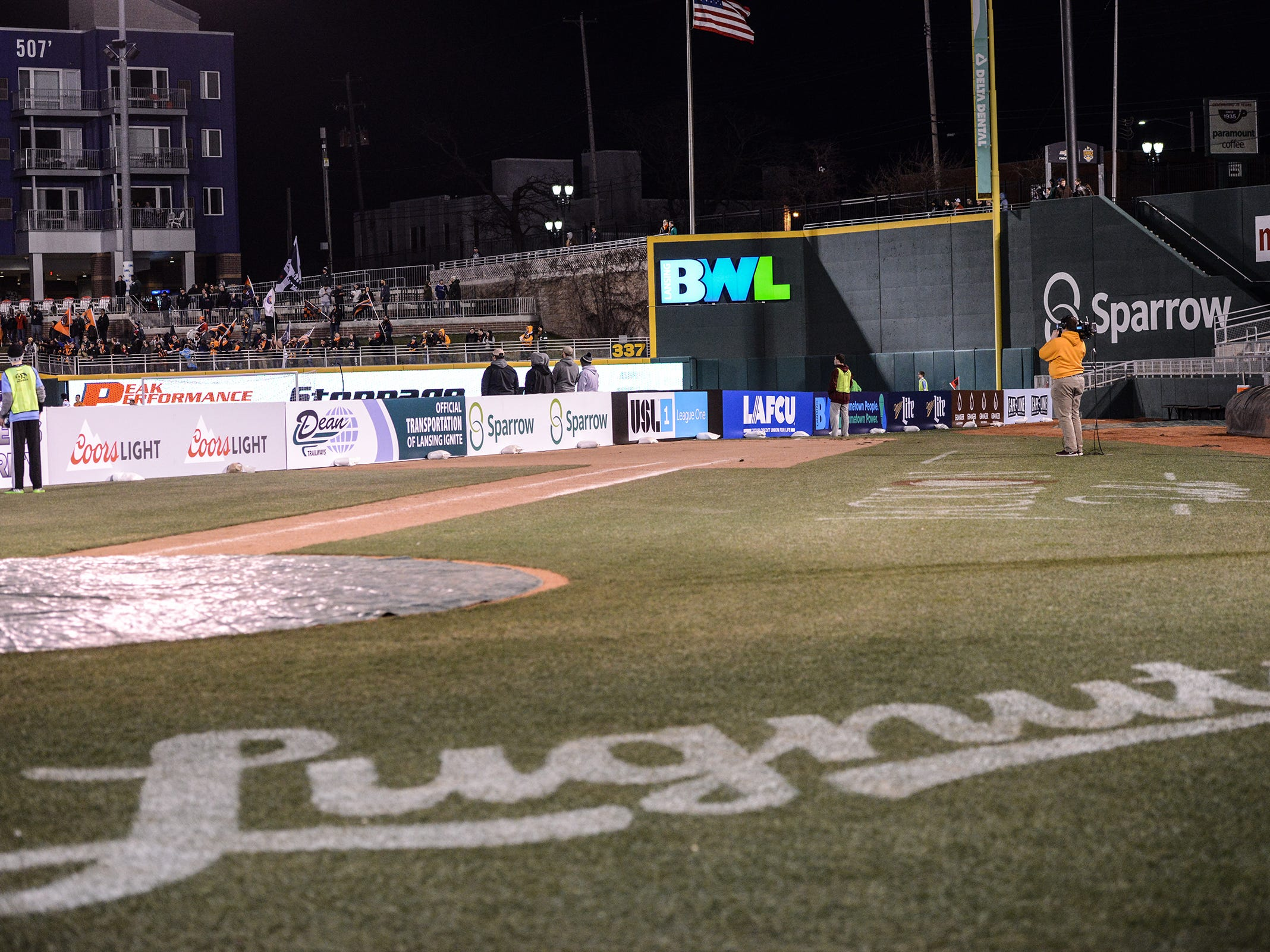 Cooley Law Stadium is converted to a Lansing Ignite soccer field. The photo shows the first base line with the field starting in the infield.