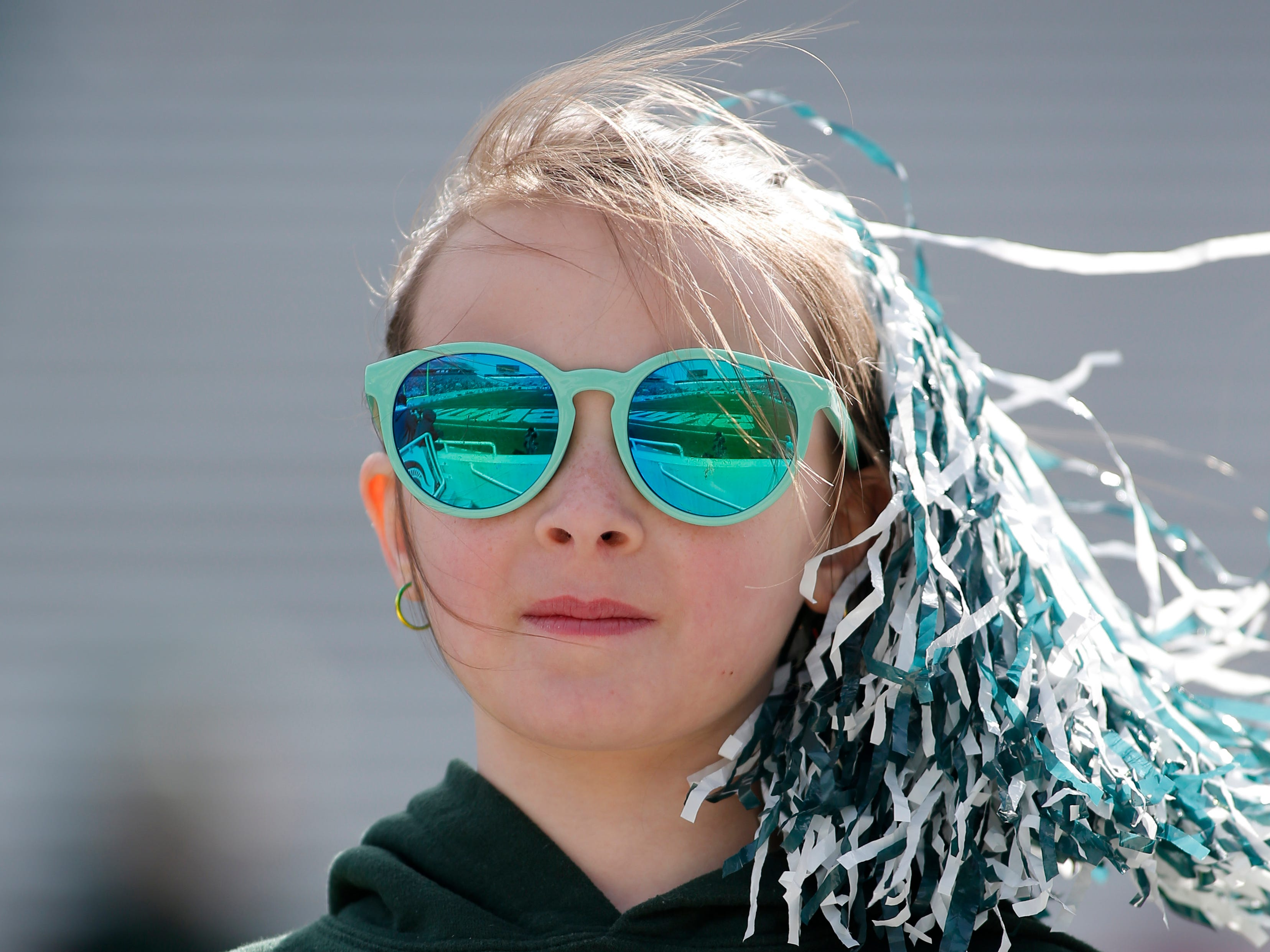 A young fan watches Michigan State's NCAA college football spring game, Saturday, April 13, 2019, in East Lansing, Mich. (AP Photo/Al Goldis)