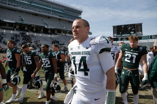 MSU senior quarterback Brian Lewerke completed 14 of 20 passes for 181 yards and two touchdowns in MSU's spring game.