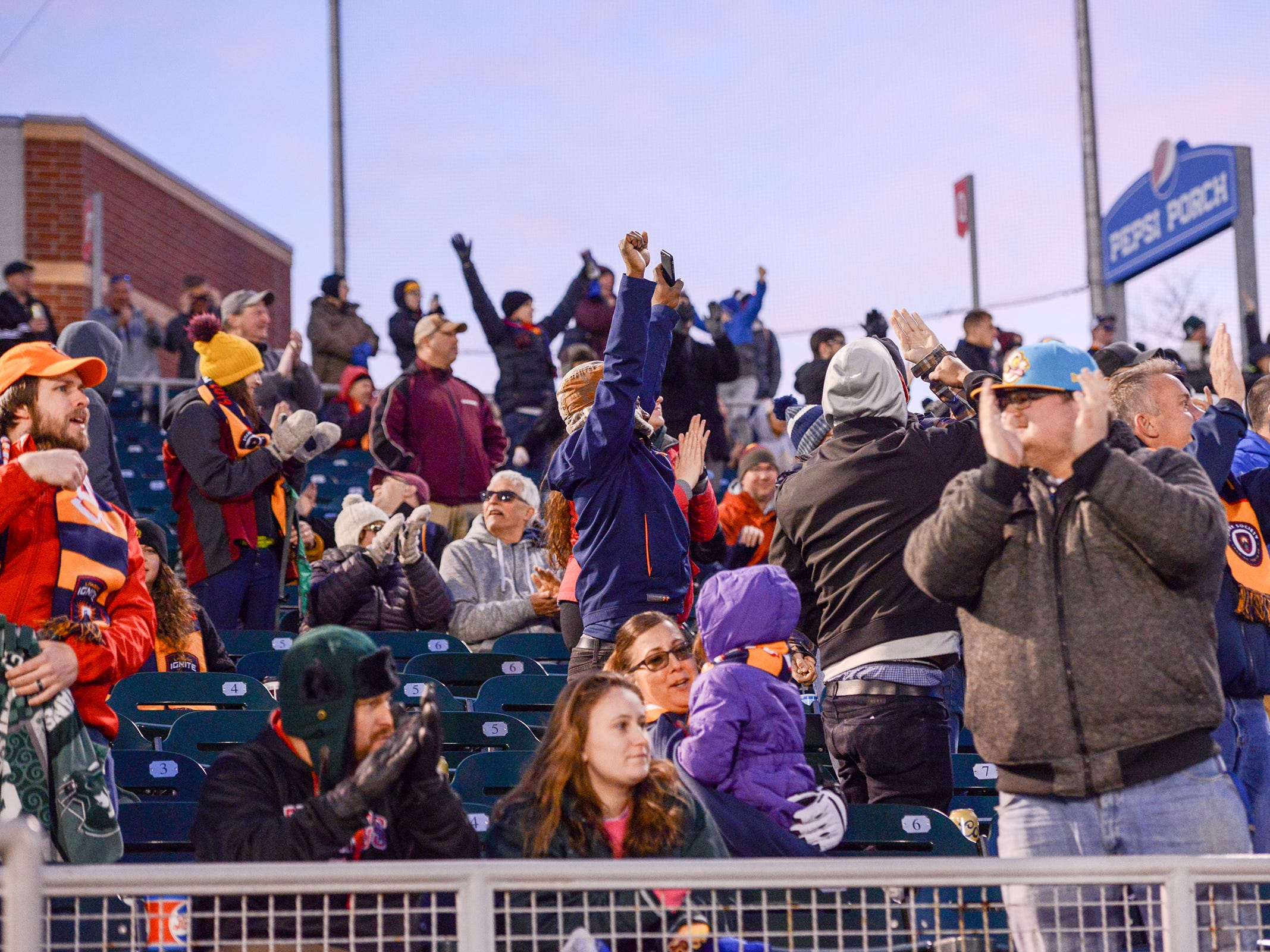 Fans cheer as the Lansing Ignite scores the third goal against the Richmond Kickers Saturday, April 13, 2019.