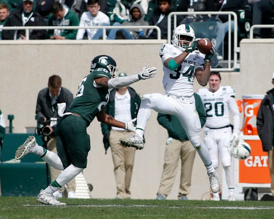 Michigan State's Anthony Williams, right, catches a pass against Brandon Bouyer-Randle during an NCAA college football spring scrimmage game, Saturday, April 13, 2019, in East Lansing, Mich. (AP Photo/Al Goldis)