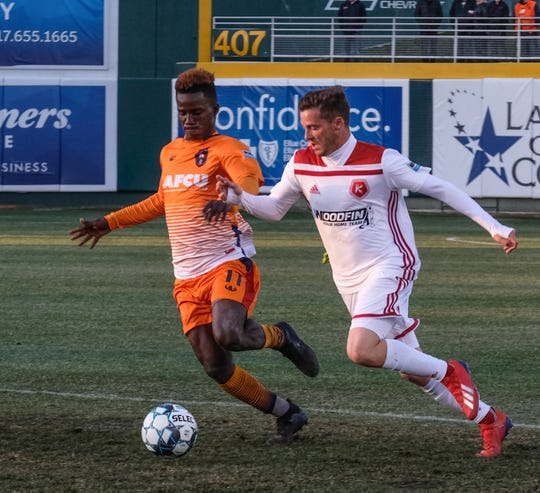 Lansing Ignite forward Steeve Saint-Duc scored the goal in Lansing Ignite's 1-0 win over Toronto FC II on Tuesday.