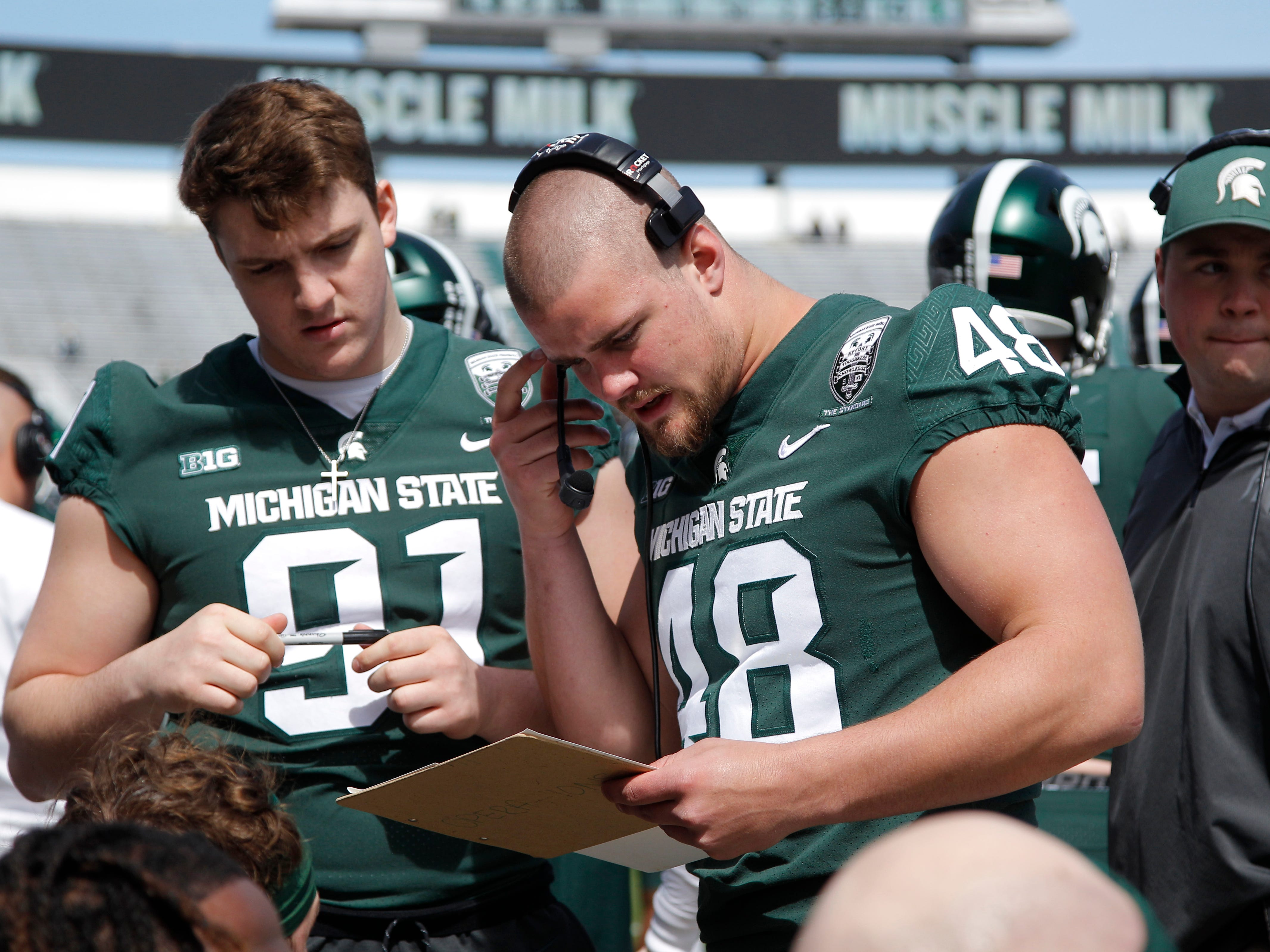 Michigan State defensive ends Kenny Willekes (48) and Jack Camper, left, are shown in the bench area during an NCAA college football spring scrimmage game, Saturday, April 13, 2019, in East Lansing, Mich. (AP Photo/Al Goldis)
