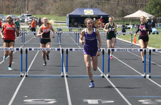 Mount Gilead sophomore Allison Johnson won the 300 hurdles to go with her title in the pole vault at Saturday's 87th Mehock Relays.