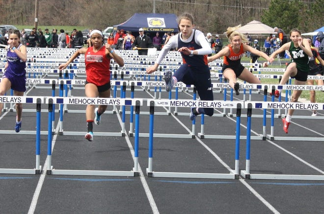 Galion's Kerrigan Myers wins the 100 hurdles to go with gold in the high jump at the 87th Mehock Relays