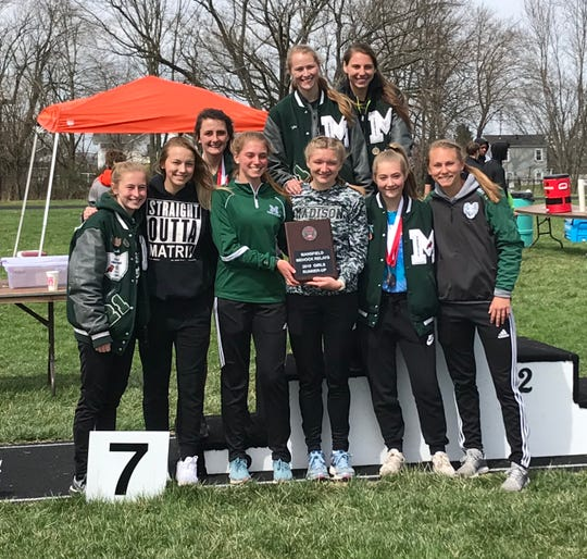 Coach Andrew Saris and his Madison girls earned a runner-up plaque in Saturday's 87th Mehock Relays.