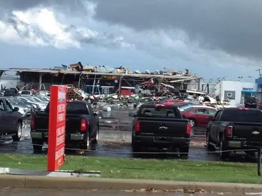 A photo was posted on Facebook with a caption indicating that the Rocket Chevrolet in Shelby was damaged by a tornado on April 14, 2019.