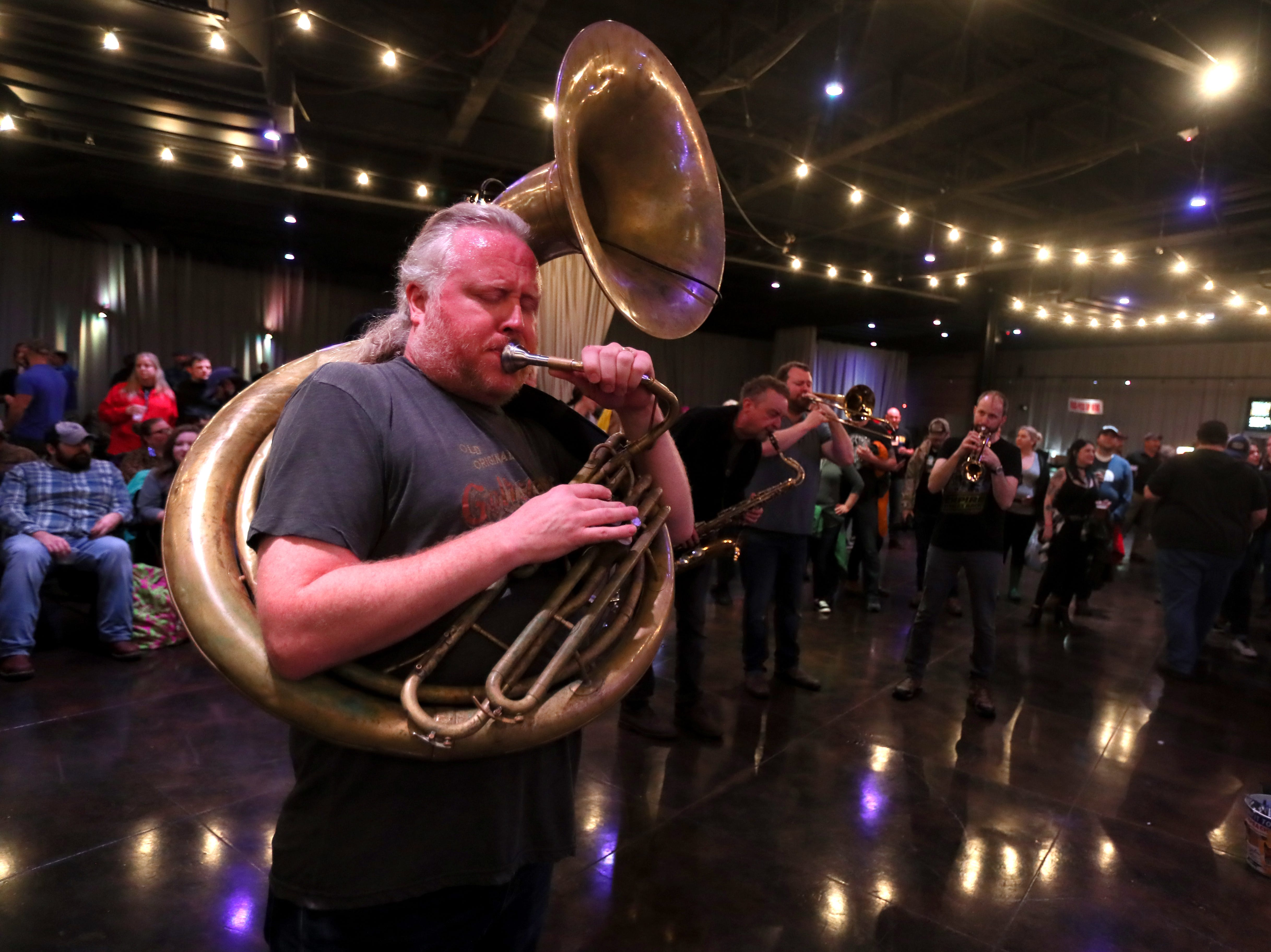 The Mighty Souls Brass Band performs during the Lucero Family Block Party 2019! at the Minglewood Hall on Saturday, April 13, 2019.