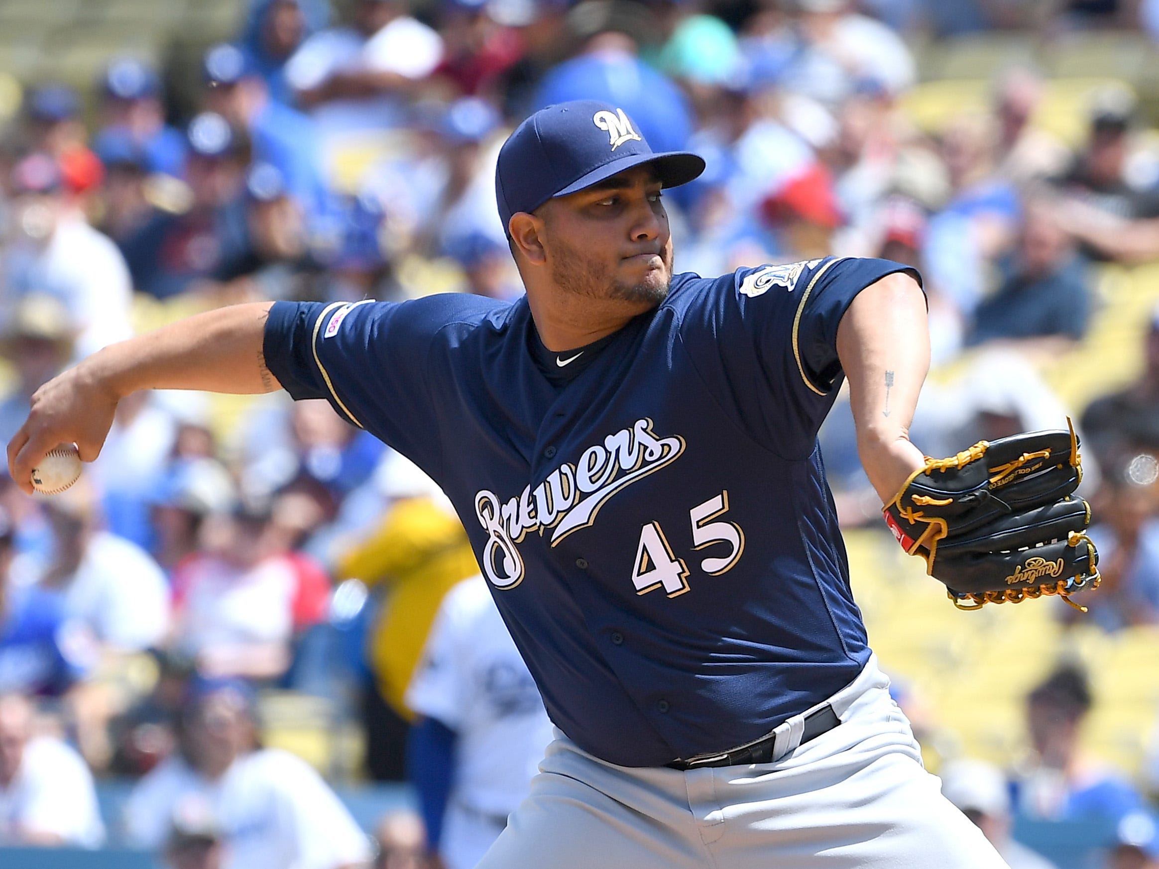 Jhoulys Chacín lasted only 2 1/3 innings Sunday.