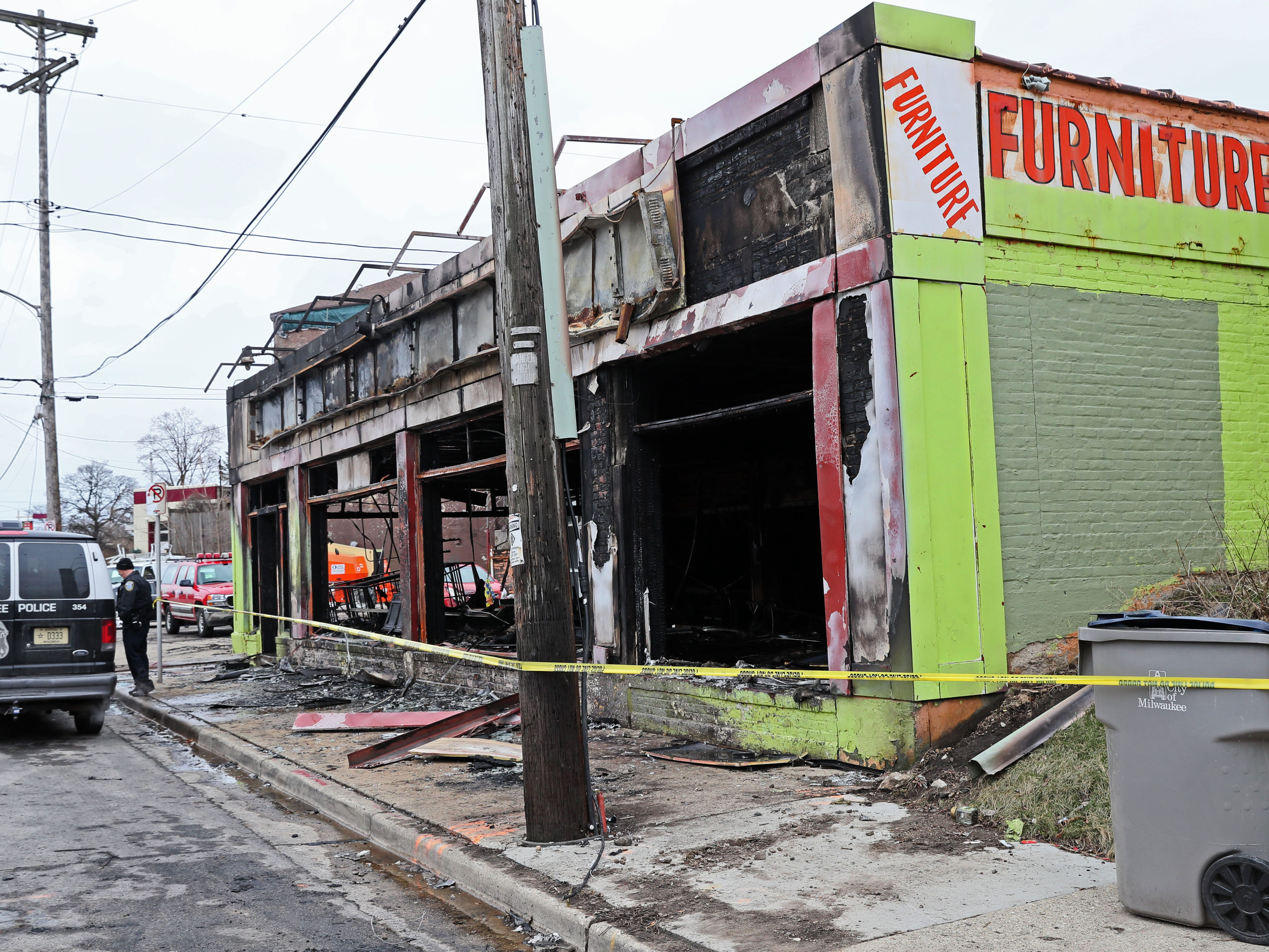 A fire about 6:55 p.m. Saturday destroyed a furniture store at South 25th Street and West Lincoln Avenue in Milwaukee.