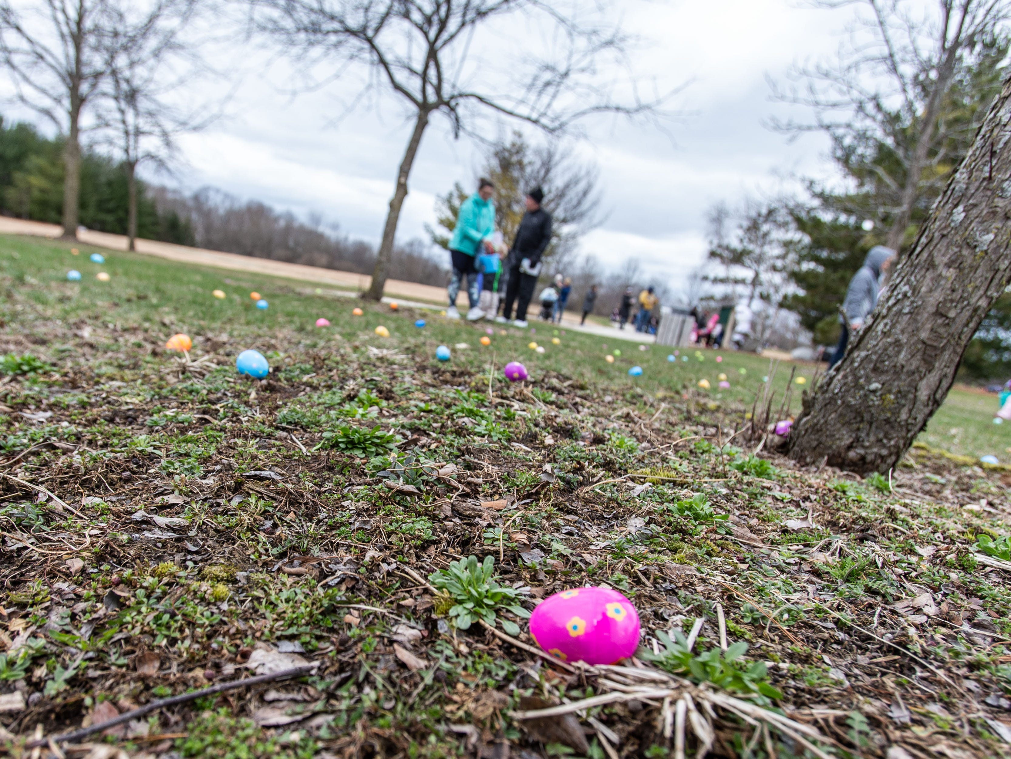 Youngsters gather candy filled eggs during the annual Easter Extravaganza egg hunt in Lisbon Community Park on Saturday, April 13, 2019. Sponsored by the Lisbon Park Department, the hunt features treats from area businesses and organizations, pictures with the Easter Bunny, local emergency response vehicles and more.