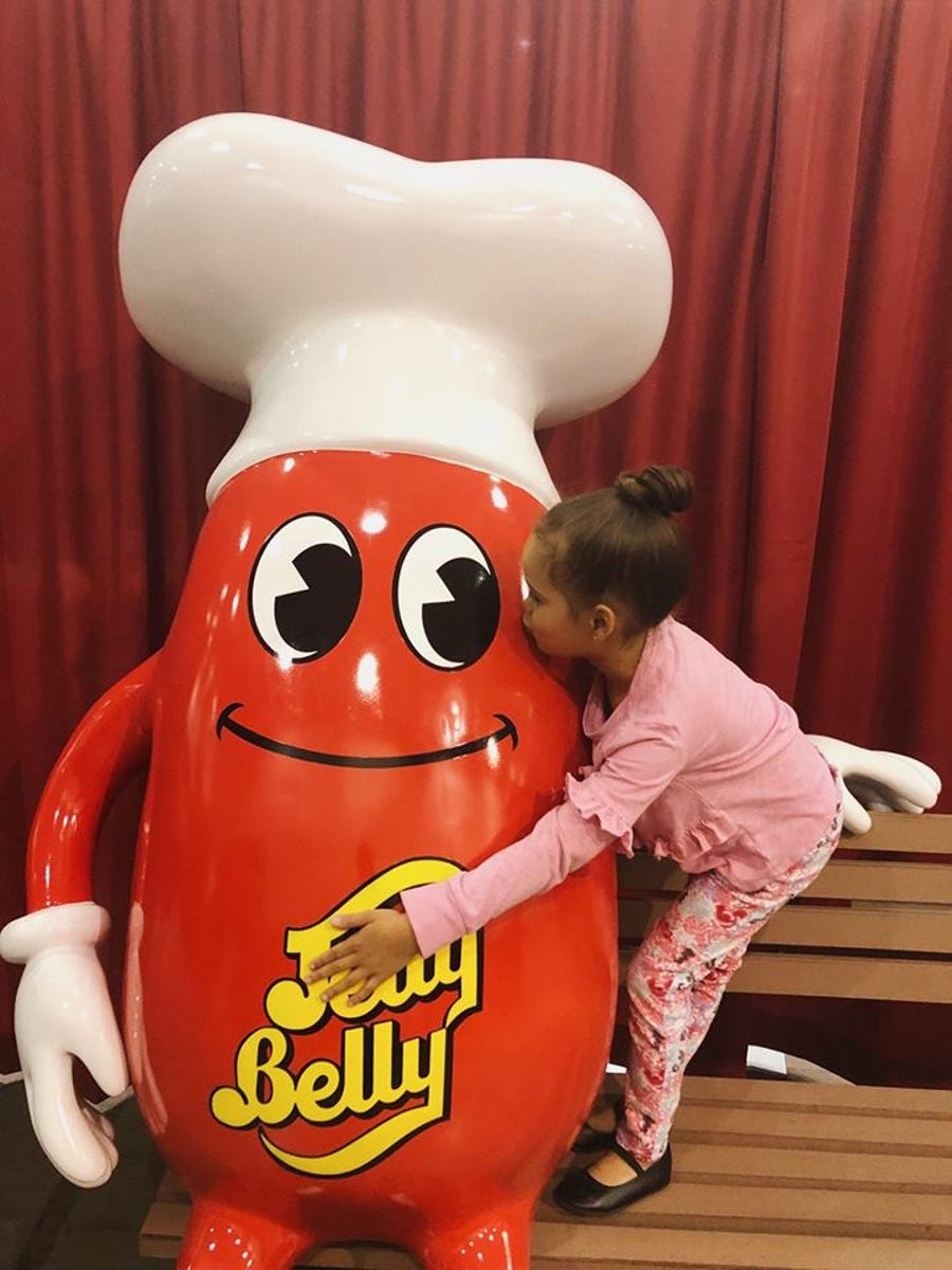 One of the photo opportunities at the Jelly Belly spring pop-up event is the chance to sit on a bench with Mr. Jelly Belly.