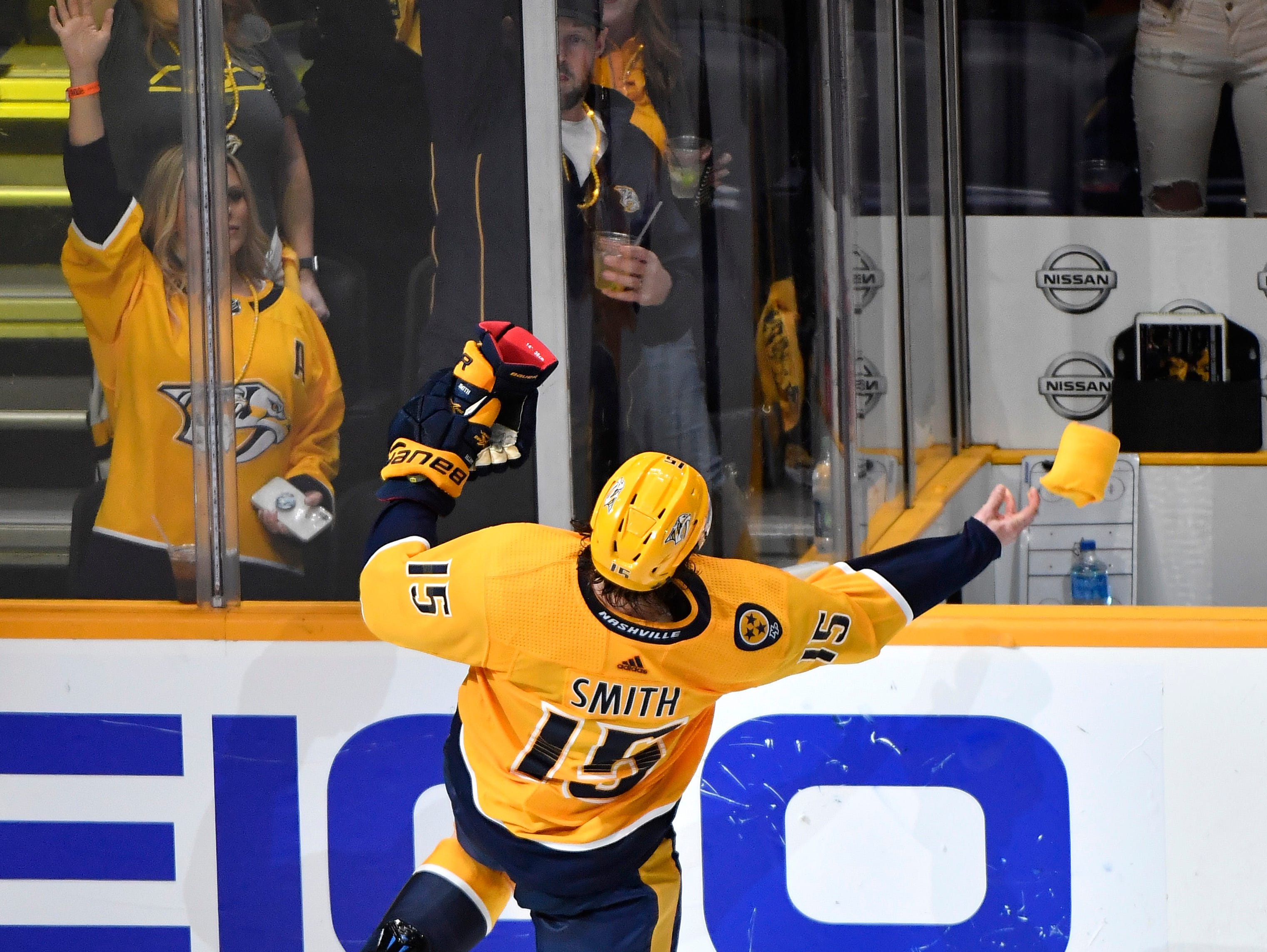 Nashville Predators right wing Craig Smith (15) ris recognized after his game-winning goal in overtime giving the Predators a 2-1 win over the Dallas Stars in the divisional semifinal game at Bridgestone Arena in Nashville, Tenn., Saturday, April 13, 2019.