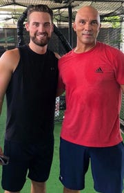 Vanderbilt first baseman Julian Infante, left, worked out regularly with former major league All-Star Raul Ibanez last summer in Miami.