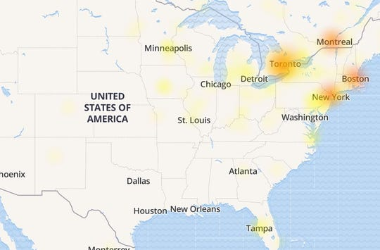 Facebook and Instagram were down on Sunday morning, with reported problems the most acute along the East Coast.