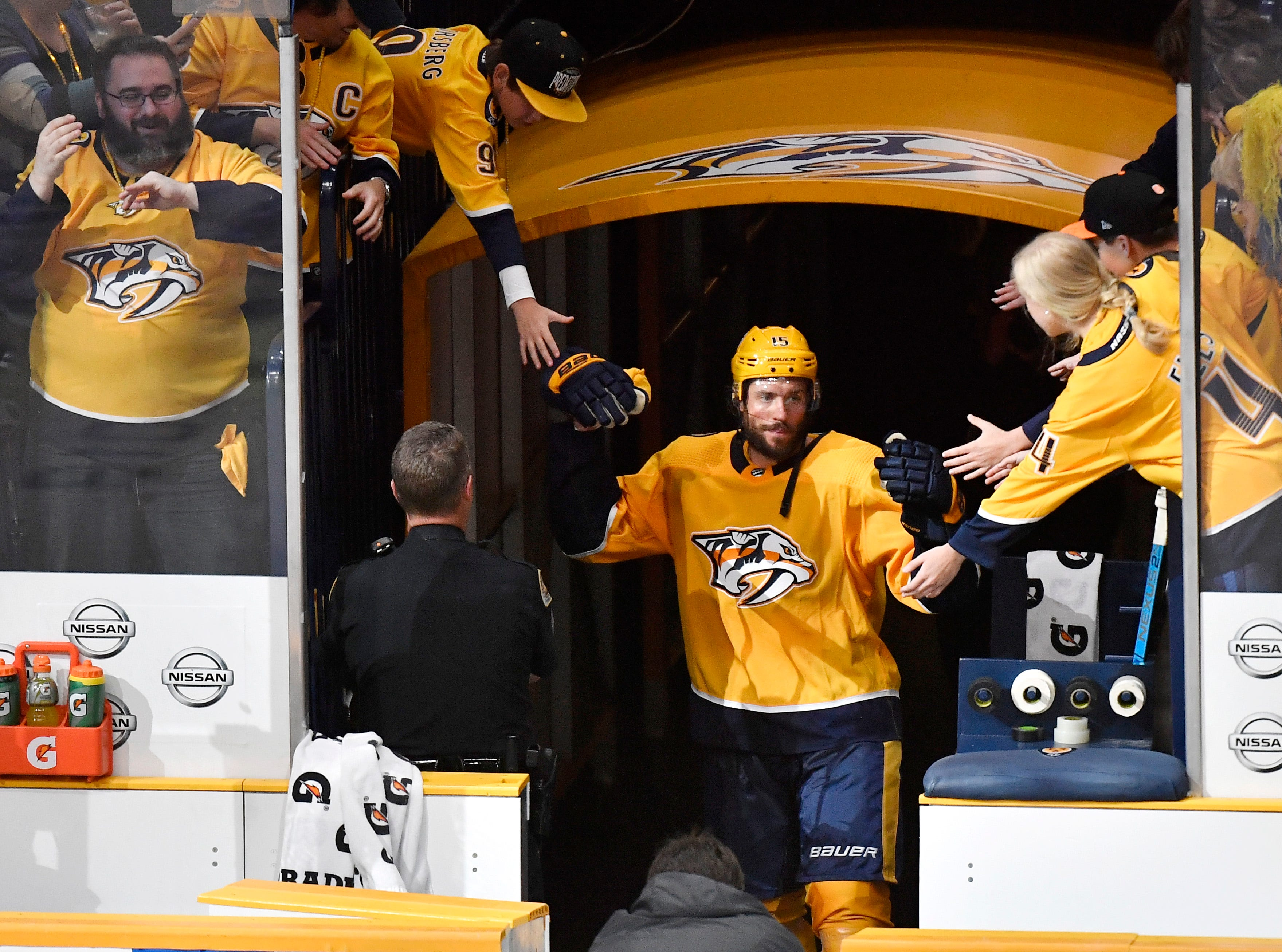Nashville Predators right wing Craig Smith (15) returns to the ice to be recognized after his game-winning goal in overtime giving the Predators a 2-1 win over the Dallas Stars in the divisional semifinal game at Bridgestone Arena in Nashville, Tenn., Saturday, April 13, 2019.